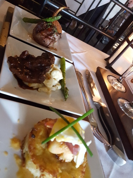 Flight Restaurant and Wine Bar- Lamb Chop, Elk Chop, and Scallop benedict