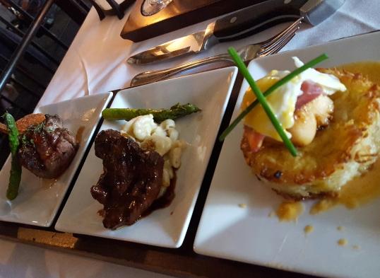 Flight Restaurant and Wine Bar- Lamb Chop, Elk Chop, and Scallop benedict